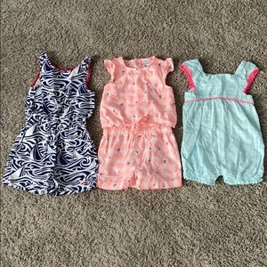 SET OF THREE ROMPERS- Vineyard Vines and Carter's